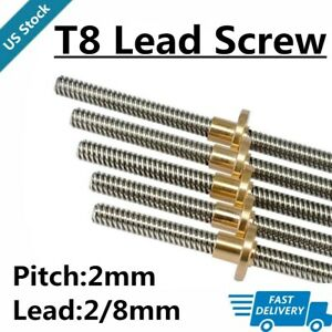 T8 Pitch Lead 2 8mm Rod Stainless Lead Screw Linear Rail Bar 100mm 1200mm Cnc Us