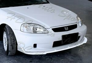 For 96 98 Honda Civic Jdm Cs Style Painted White Front Bumper Body Lip Kit 3pcs