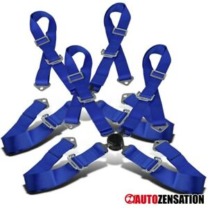 2pcs 4 Point 4pt Camlock Safety Harness Racing Seat Belt Blue