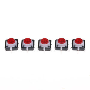 5pcs 12 12 7 3 Red Tactile Push Button Switch Momentary Tact Led Feiju Uh