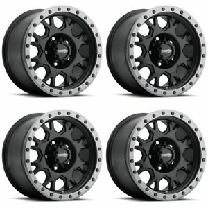 Set 4 18 Vision Gv8 Invader Black Anthracite Rims 18x9 5x5 12mm Jeep Gmc 5 Lug