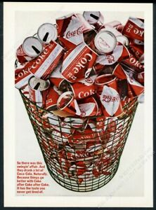 1966 Coke Coca Cola diamond can trash bin photo vintage print ad
