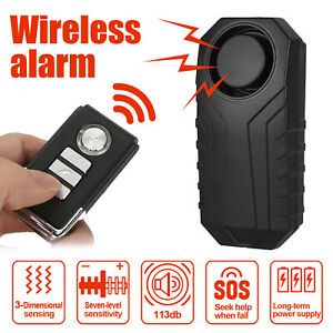 Wireless Bicycle Motorcycle Anti theft Alarm Vibration Remote Control 113db Loud