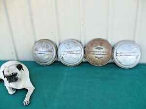 1940 s 50 s Set Of 4 Vintage Ford Baby Moon Dog Dish Hubcaps Rustic