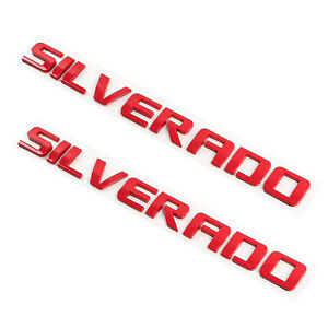 2pcs Gloss Red Chevy Silverado Letter Emblem 07 19 Door Tailgate Nameplate 1500