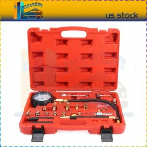 0 140 Psi Petrol Fuel Injection Pump Injector Car Tester Pressure Gauge Tool Kit