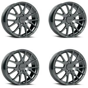 Set 4 16 Vision 18 Hellion 16x7 Gunmetal 5x4 5 Street Wheels 38mm 5 Lug Rims