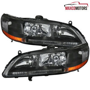 Black For 1998 2002 Honda Accord Sedan coupe Headlights Head Lamps Left right