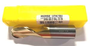 Morse 7 8 Carbide End Mill Ball Nosed Tin Coated 2 Flute Usa Made 90421