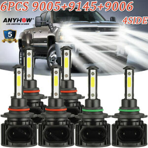 For Chevy Silverado 1500 2500 Hd 2004 2006 Led Headlight Fog Light Bulbs Combo