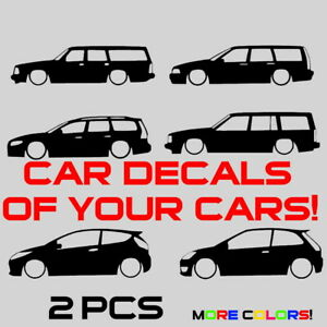 2x Lowered Car Sticker Decals Silhouettes