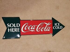 COCA COLA ICE COLD SOLD HERE Arrow Shaped Tacker Type Advertising Sign 1990