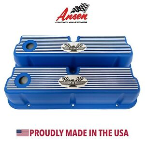 Ford 289 Tall Valve Covers American Eagle Finned Style Blue Ansen Usa