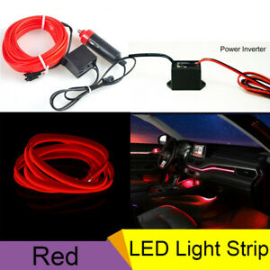 5m Car Neon Flexible Lamp Strip El Wire Decorative Atmosphere Red Cold Light