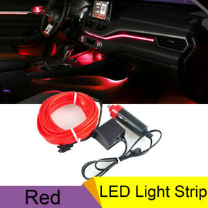12v Car Neon Lamp Atmosphere Fluorescent Strip El Wire Red 16ft Cold Light Lamp