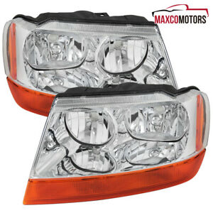 For 1999 2004 Jeep Grand Cherokee Headlights amber Turn Signal Lamps Pair Lh rh