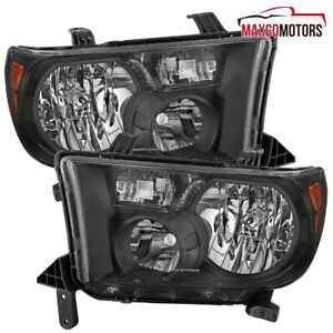For 2007 2013 Toyota Tundra 2008 2017 Sequoia Replacement Black Headlights Pair