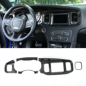 5x Console Dashboard Panel Trim Decor Cover For Dodge Charger 2015 Carbon Fiber
