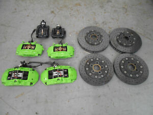 2015 15 16 17 18 Lamborghini Huracan Ceramic Brake Rotors Green Calipers 0681