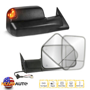 Towing Mirrors Power Heated Flip Up For 98 02 Dodge Ram 1500 2500 3500 Pair
