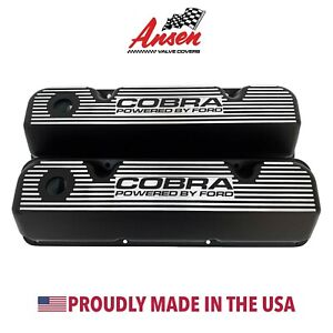 Ford 351 Cleveland Valve Covers Black Cobra Powered By Ford Black Logo Ansen