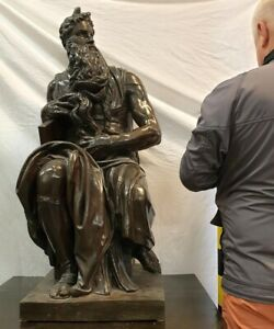 Antique Large Bronze Sculpture Of Michelangelo By Barbedienne 19th C 39 Tall