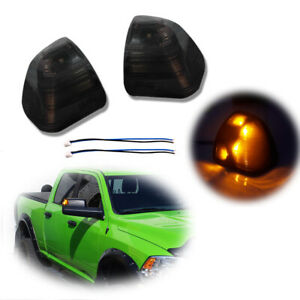 2x Smoked Led Amber Side Mirror Indicator Lights For Ram 1500 2500 3500 2011 17