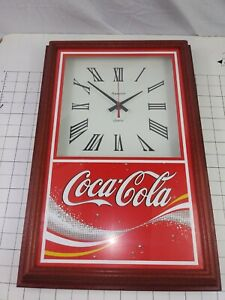 Vintage Coca Cola Clock Hanover Wood Frame Glass Front Advertising