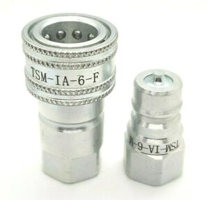New 3 8 Npt Iso 7241 1 a Quick Disconnect Poppet Valve Hydraulic Coupling Set