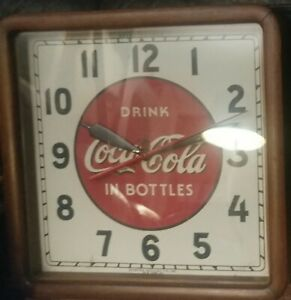 Original Coca Cola Clock 1930's!! WORKS Vintage Metal Wood Sign