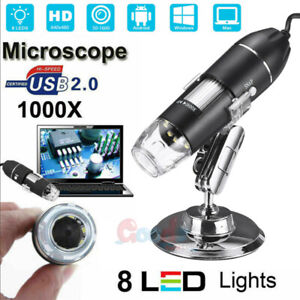 Usb 1000x Microscope Endoscope Magnifier Digital Video Camera Microscopio 8 Led