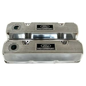 Ford 351 Cleveland ford Motorsport Logo Valve Covers Polished Ansen Usa