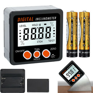 4 90 Level Box Gauge Lcd Digital Protractor Magnetic Inclinometer Angle Finder