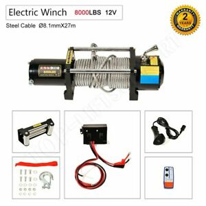 8000lbs 12v Electric Recovery Winch Truck Suv Wireless Remote Control Steel