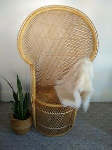 Vintage Peacock Wicker Chair Fan Ratan High Back Mid Century Boho Chic Bohemian