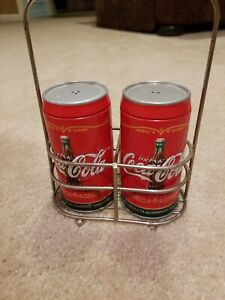Coca-Cola Salt and Pepper Shaker Set with Caddy - NEW - FREE SHIPPING