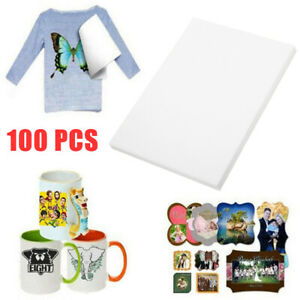 100pcs A4 Heat Transfer Iron on Paper T shirt Inkjet Light Fabric Craft Home Diy