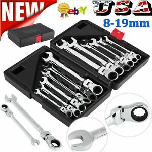 12pcs 8 19mm Metric Flexible Fixed Spanners Ratchet Wrench Polished Tool Set Kit