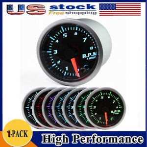Car Tachometer Tacho Gauge Meter 2 Universal Led 0 8000 Rpm 7color Led Display