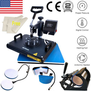 5 In 1 Heat Press Machine Swing Away Sublimation Transfer T shirt Mug Hat Plate