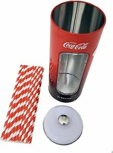 The Tin Box Company Coke 50 Coca Cola Holder Tin with 20 Paper Straws  3-3/8 x 8