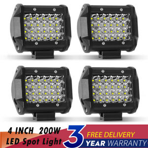 4x 4inch 3 rows Spot Light Led Work Light Pods Offroad Reverse Atv Driving Cube