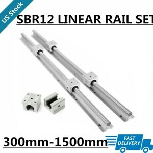 2xsbr12 Linear Rail Guide Shaft Rod L300mm 1500mm 4x Sbr12uu Bearing Blocks Cnc