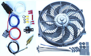 14 Heavy Duty Radiator Electric Wide Curved Blade Fan 2400 Cfm Thermostat Kit