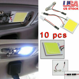 10pcs 48 Smd Cob White Panel Led T10 Car Interior Panel Light Dome Lamp Bulb Us