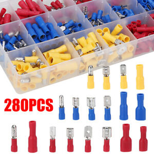 280x Assorted Crimp Spade Terminal Electrical Insulated Wire Connector Kit