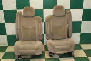 03 07 Gm Truck Crew Tan Cloth Driver Power Passenger Manual Pair Bucket Armrests