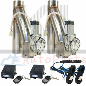 2pcs 2 5 Electric Exhaust Downpipe E Cut Out Valve W Two Controller Remote Kit