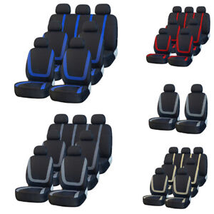 Universal 3 Row 7 Front Rear Car Seat Covers Full Set For Auto Suv Van Truck