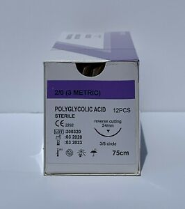 Veterinary Surgical Suture 2 0 Pga 12ct Polyglycolic Acid Reverse Cutting 24mm